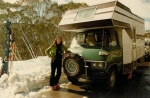 John built this campervan when the kids were small and we had many wonderful holidays in it, often travelling to the Victorian snow fields to ski. We're at Falls Creek this particular time, August 1980