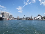 A view of Darling Harbour from the back of the ferry